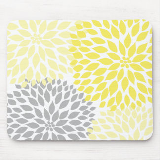 Yellow and gray dahlia desk office accessory mouse mat