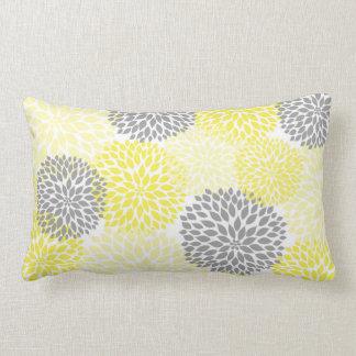 Yellow and Gray Dahlia / Mums rectangular pillow