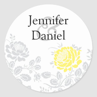 Yellow and Gray Damask Envelope Seal Round Sticker