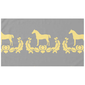 Yellow and Gray Damask Horse Tablecloth