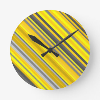 Yellow and Gray Diagonal Lines/Stripes Pattern Round Clock