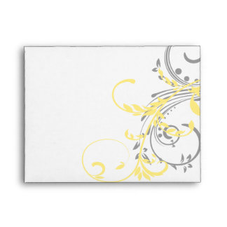 Yellow and Gray Double Floral RSVP Envelope