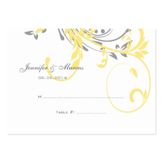 Yellow and Gray Double Floral Seating Card Business Card Templates