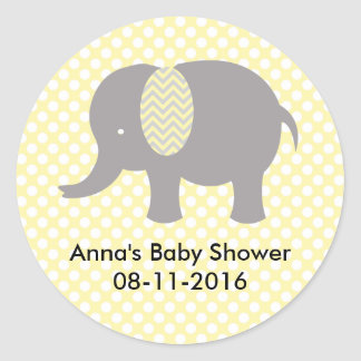 Yellow and gray Elephant Baby SHower Round Sticker