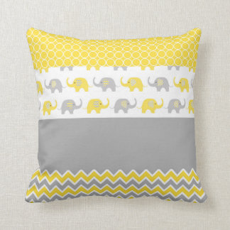 Yellow and Gray Elephant Pillow