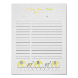 Yellow and Gray Elephants Baby Shower Gift List Poster