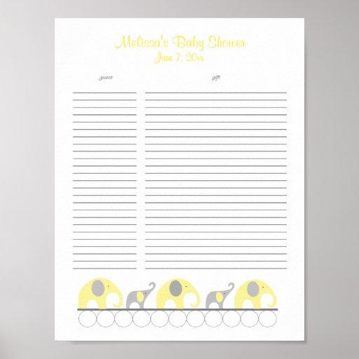 Baby Gift List Uk : Yellow and grey elephants baby shower gift list zazzle