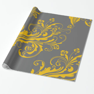 Yellow and Gray Floral Chic Wrapping Paper