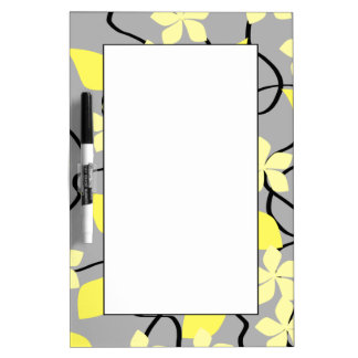 Yellow and Gray Flowers. Floral Pattern. Dry Erase Board
