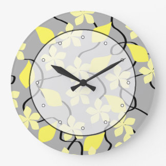 Yellow and Gray Flowers. Floral Pattern. Large Clock