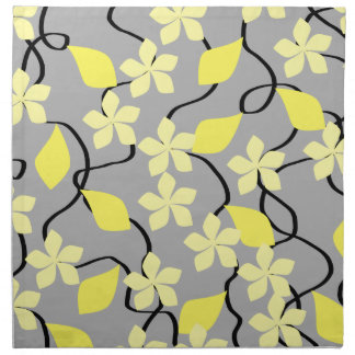 Yellow and Gray Flowers. Floral Pattern. Napkins