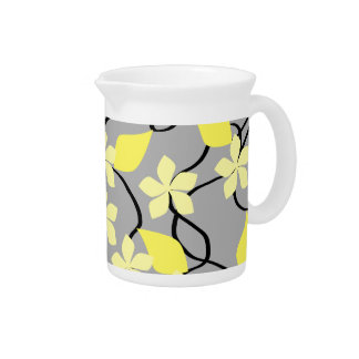 Yellow and Gray Flowers. Floral Pattern. Pitcher