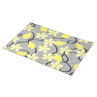 Yellow and Gray Flowers. Floral Pattern. Placemat
