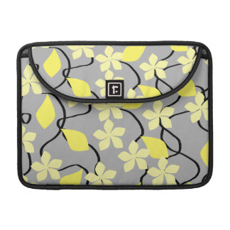Yellow and Gray Flowers. Floral Pattern. Sleeve For MacBook Pro