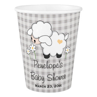 Yellow and Gray Gingham Lamb Baby Shower Paper Cup