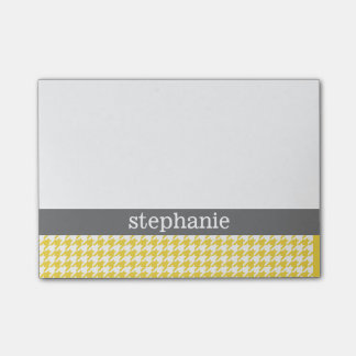 Yellow and Gray Houndstooth Pattern Custom Name Post-it® Notes