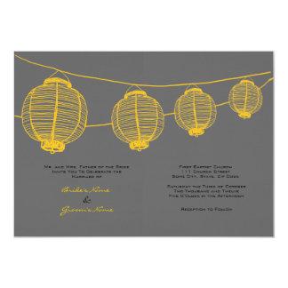 Yellow and Gray Lanterns Wedding Invitation