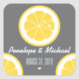 YELLOW AND GRAY LEMON HEART SEEDS WEDDING SQUARE STICKER