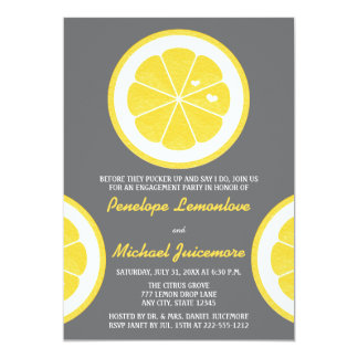 YELLOW AND GRAY LEMON THEMED ENGAGEMENT PARTY CARD