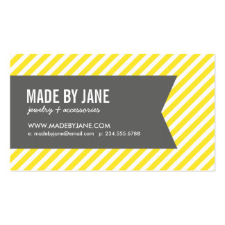 Yellow and Gray Modern Stripes Social Media Business Card Templates