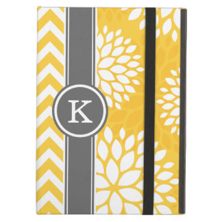 Yellow and Gray Monogram Chevron and Floral Cover For iPad Air