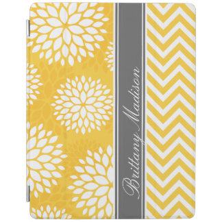 Yellow and Gray Monogram Chevron and Floral iPad Cover
