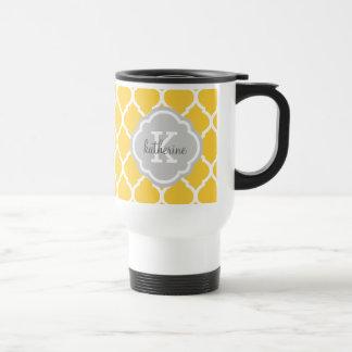 Yellow and Gray Moroccan Quatrefoil Monogram Travel Mug