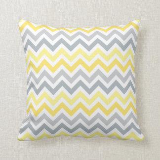 Yellow and Gray Ombré Chevron Stripes Cushion