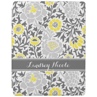 Yellow and Gray Retro Floral Damask Monogram iPad Cover