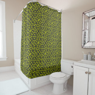 Yellow And Gray Retro Paisley Pattern Shower Curtain