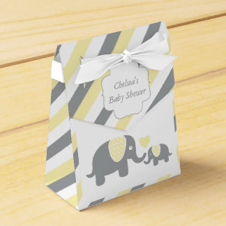 Yellow and Gray Stripe Elephant Favour Box