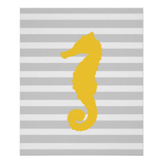 Yellow and Gray Striped Nautical Seahorse Poster