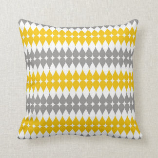 Yellow And Gray Tear Drop Pattern Cushions