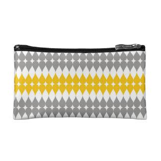 Yellow And Gray Tear Drop Pattern Makeup Bag