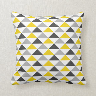 Yellow and Gray Triangle Pattern Throw Pillow