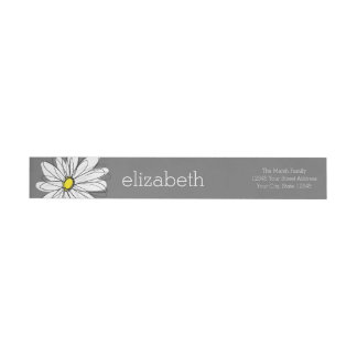 Yellow and Gray Whimsical Daisy with Custom Text Wraparound Return Address Label