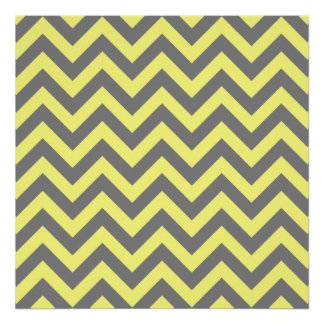 Yellow and Gray Zigzag Poster