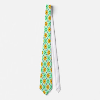 Yellow and Green Argyle Pattern Tie