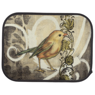 Yellow and Green Bird on Vintage Background Car Mat