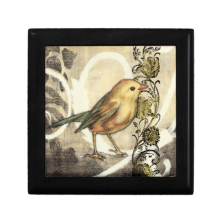 Yellow and Green Bird on Vintage Background Gift Box