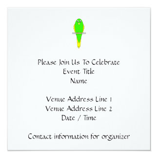 Yellow and Green Bird. Parakeet 13 Cm X 13 Cm Square Invitation Card