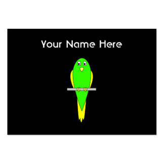 Yellow and Green Bird. Parakeet. Black Pack Of Chubby Business Cards