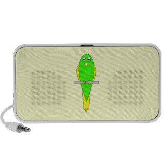 Yellow and Green Bird. Parakeet PC Speakers