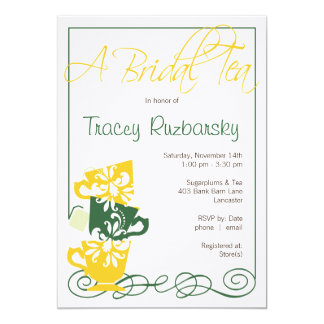Yellow and Green  Bridal Shower Invitation | Tea