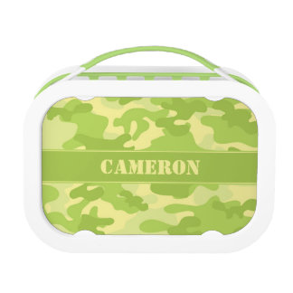 Yellow and Green Camo (Camouflage) | Personalized Lunchbox