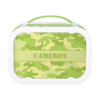 Yellow and Green Camouflage (Camo) | Personalized Lunch Boxes