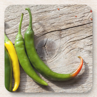 Yellow and Green Chili Pepper Beverage Coasters
