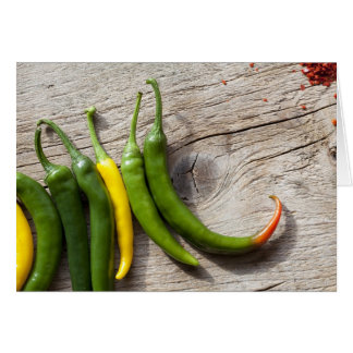 Yellow and Green Chili Pepper Greeting Card