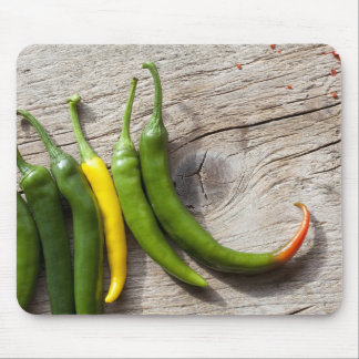 Yellow and Green Chili Pepper Mouse Pad