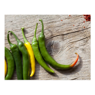 Yellow and Green Chili Pepper Postcard